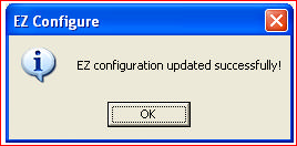 EZ Configuration updated sucessfully
